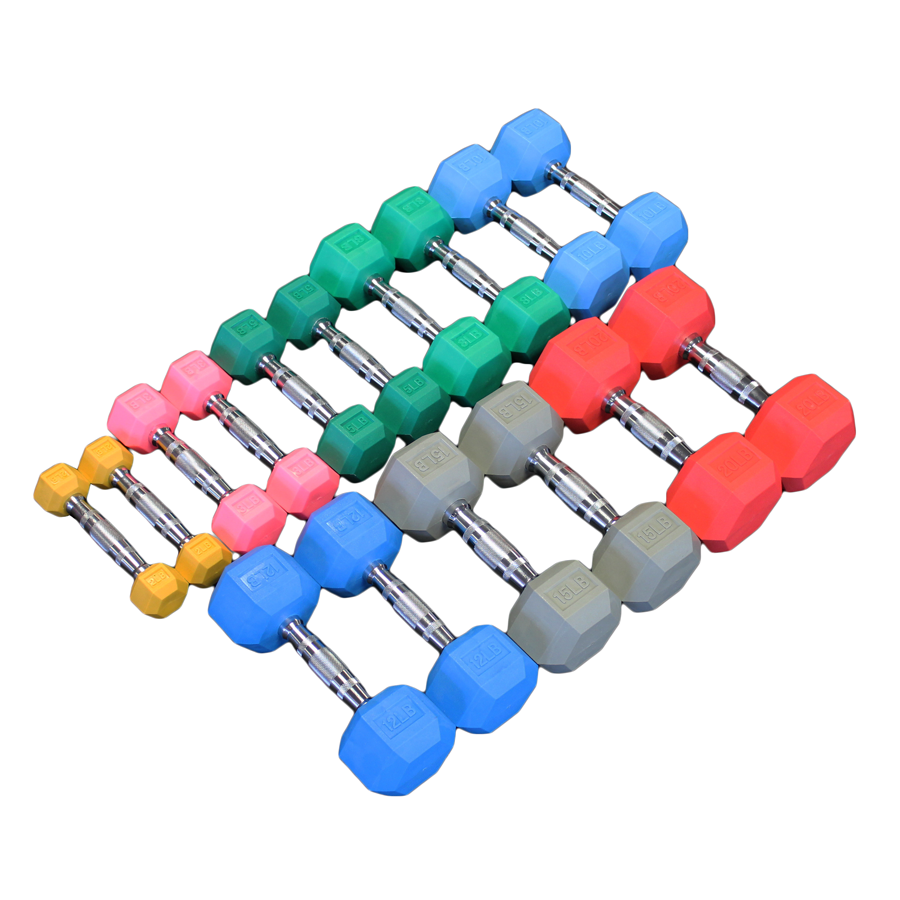 Color Coded Rubber Hex Aerobic Dumbbells Full Set - Pairs 2, 3, 5, 8, 10, 12, 15 & 20lb - Currently Out of Stock