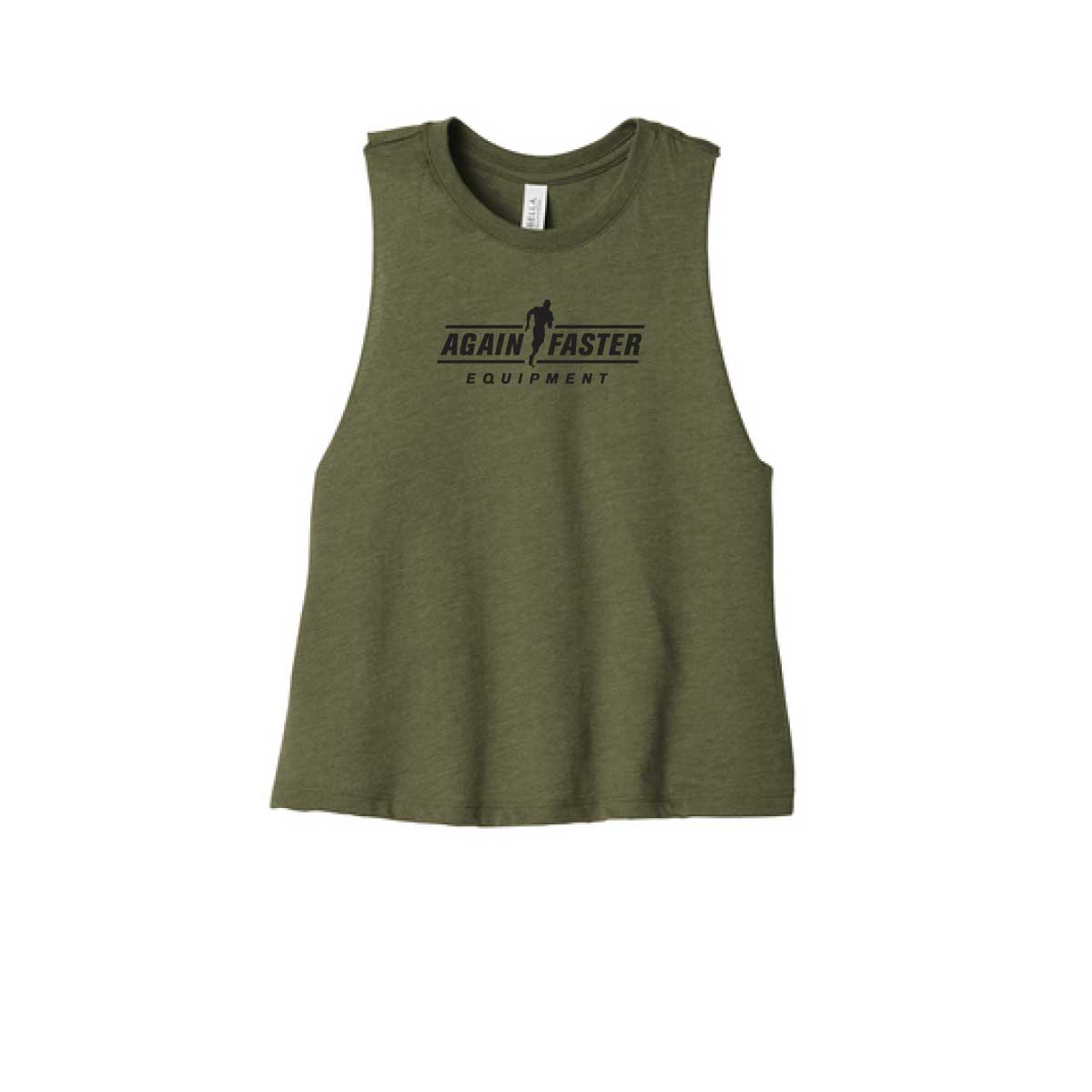 Womens - Logo - Olive - Premium Blend Crop Tank