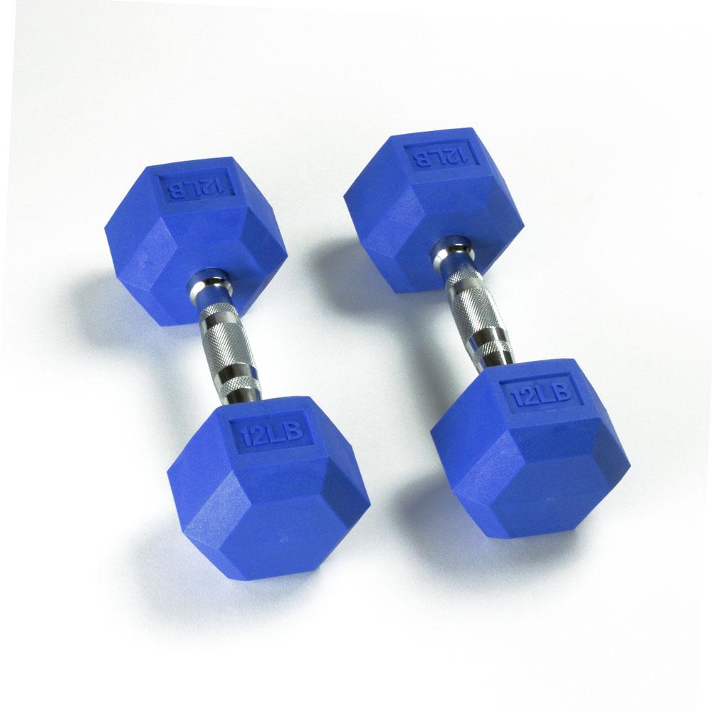 Hex Rubber Dumbbell - 12LB Blue - Pair