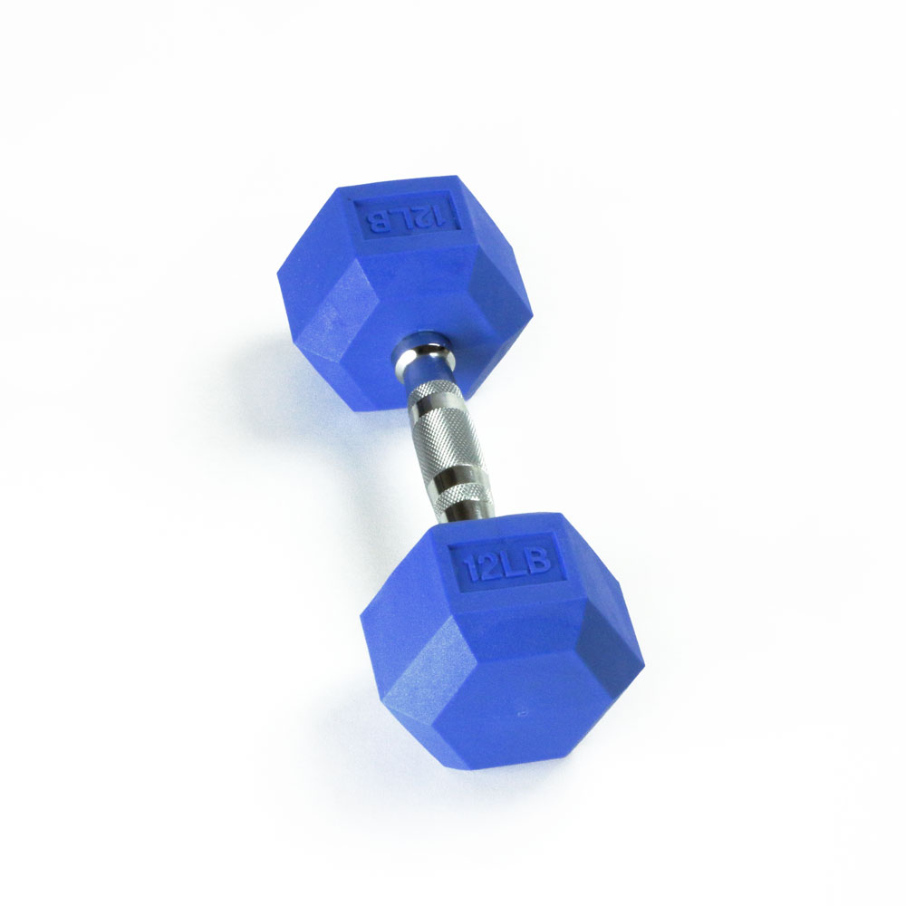 Hex Rubber Dumbbell - 12LB Blue - Single