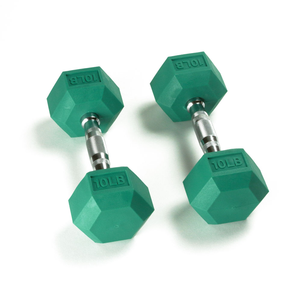 Color Coded Rubber Hex Aerobic Dumbbell 10lb Green X