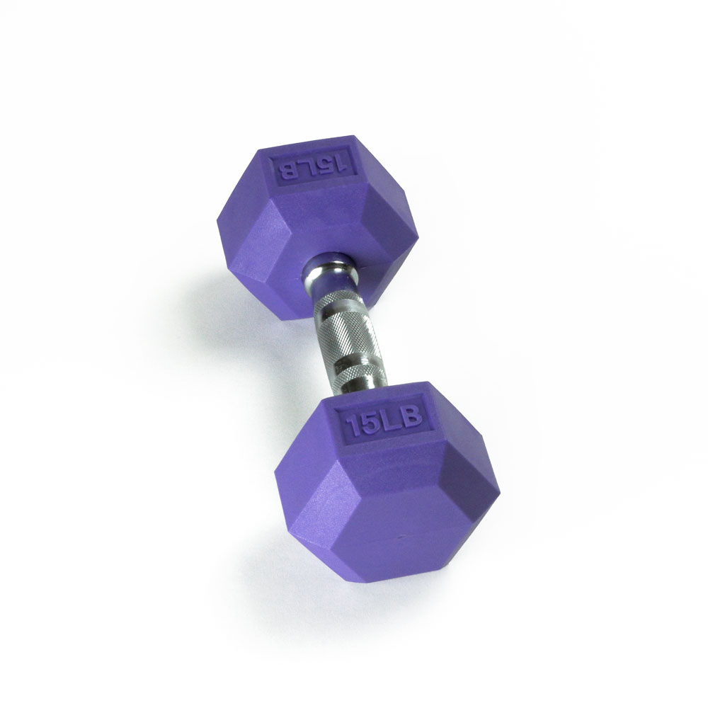 Hex Rubber Dumbbell - 15LB Indigo - Single