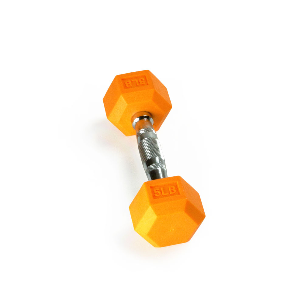 Hex Rubber Dumbbell - 5LB Orange - Single