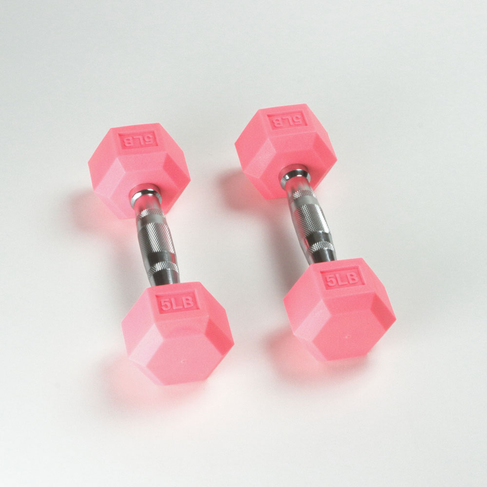 Hex Rubber Dumbbell - 5LB Pink - Pair