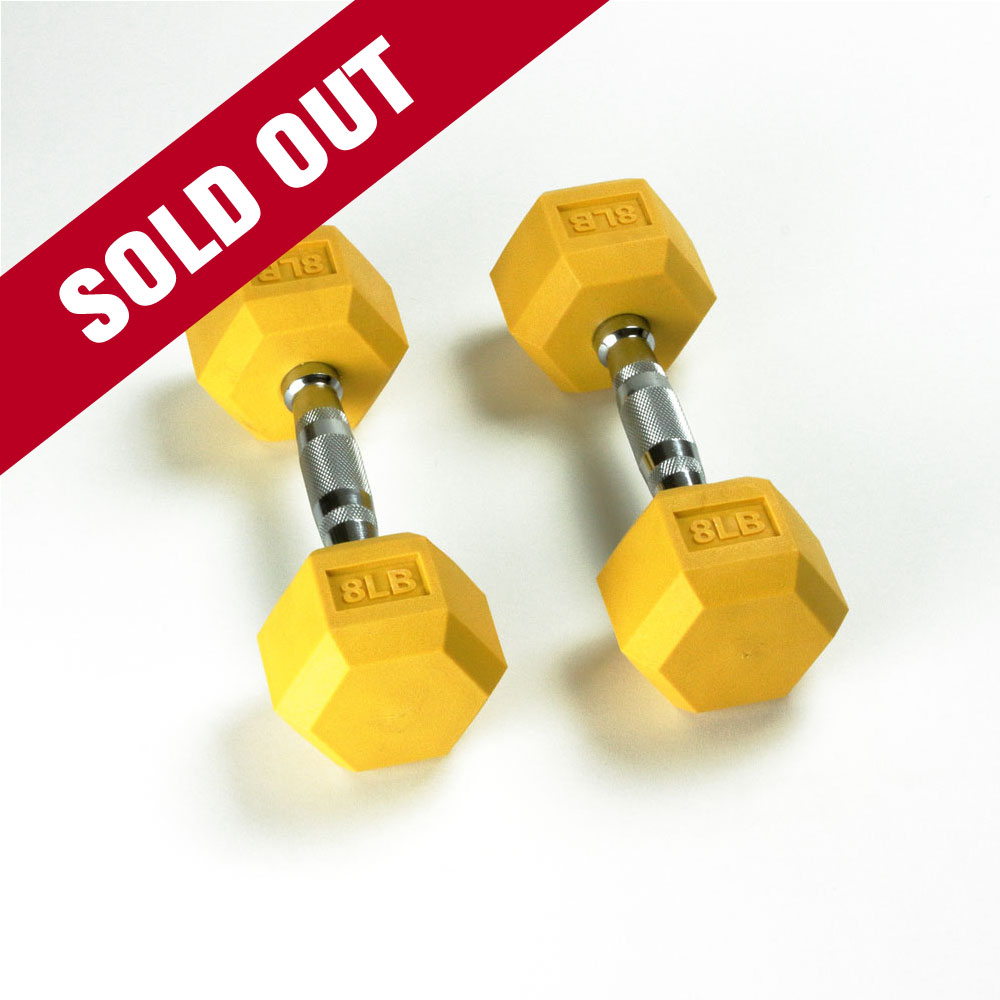 Hex Rubber Dumbbell - 8LB Yellow - Pair - Sold Out