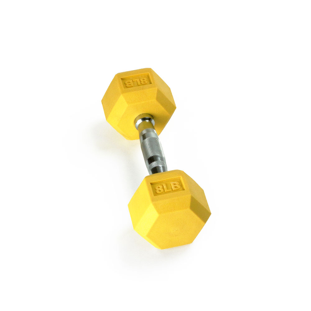 Hex Rubber Dumbbell - 8LB Yellow - Single