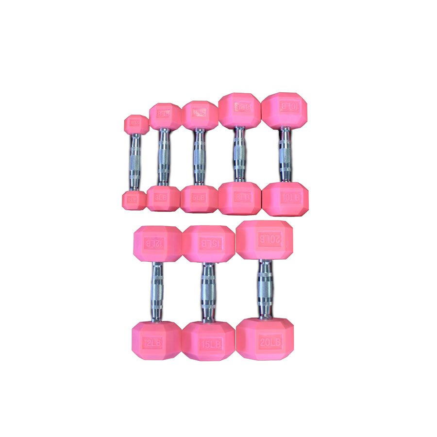 Pink Rubber Hex Aerobic Dumbbell Set Singles - 2, 3, 5, 8, 10, 12, 15 & 20lb - Currently Out of Stock