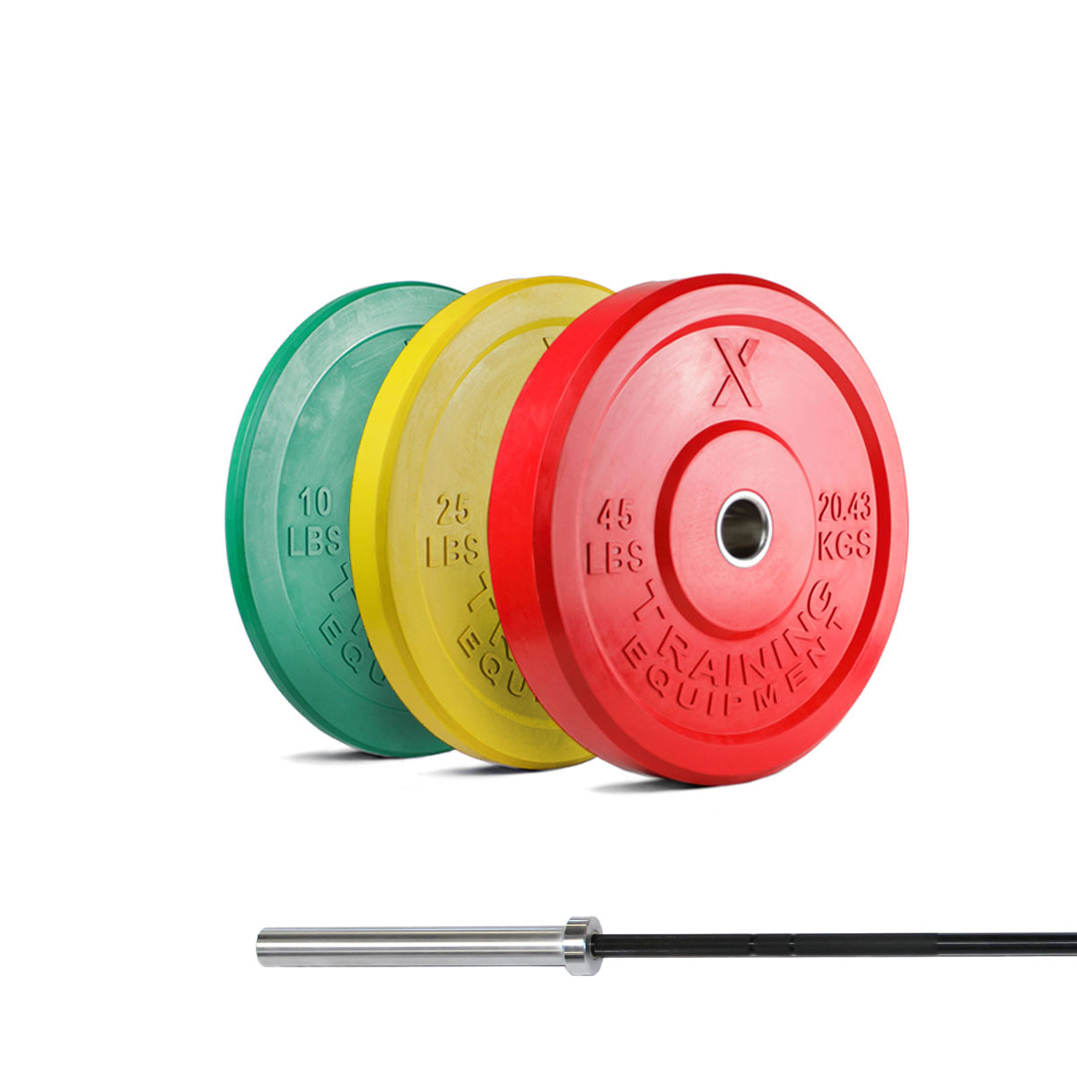 X Training Equipment® 160LB Premium Color Bumpers & XOB Barbell Special