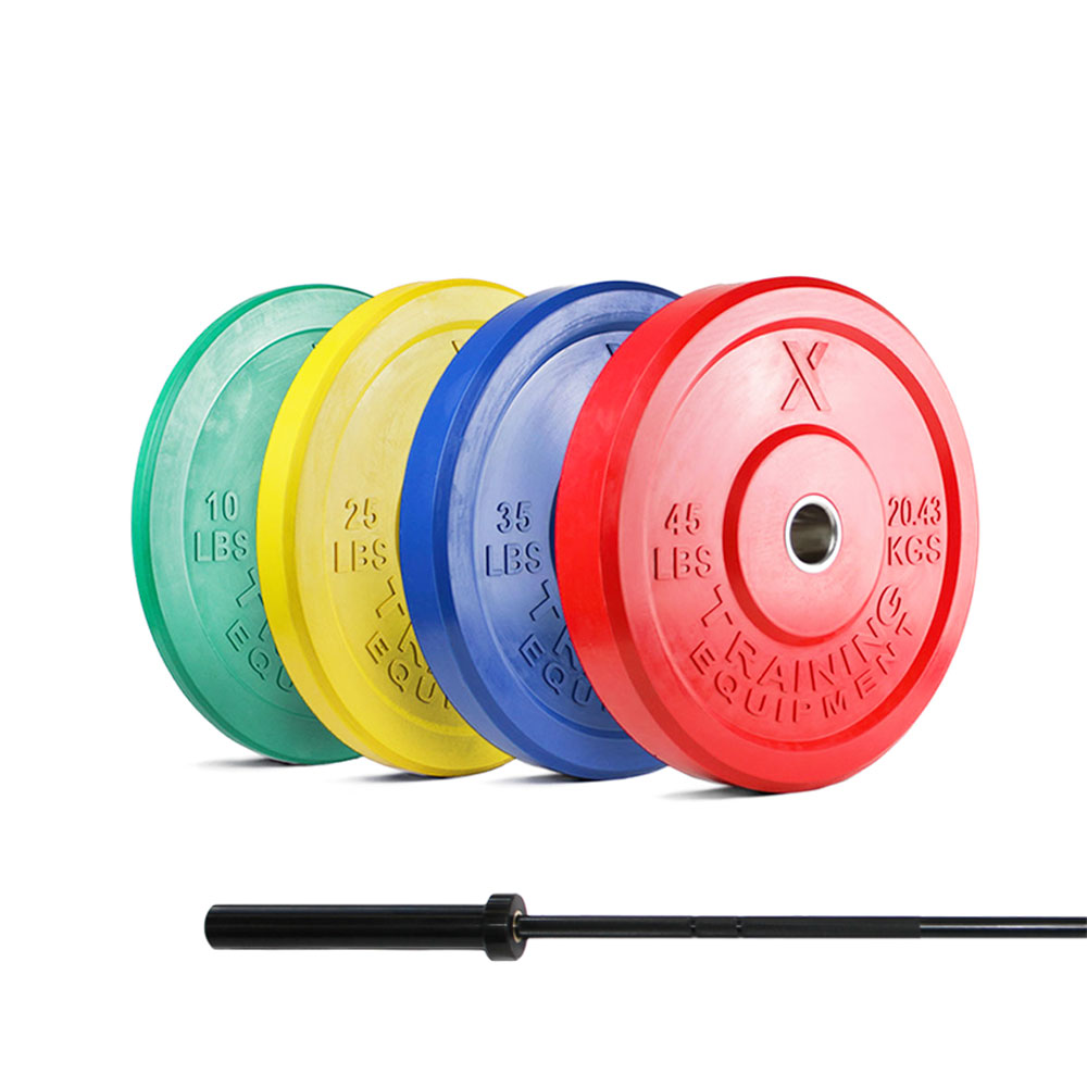 X Training Equipment® 160LB Premium Color Bumper Set & Barbell Special