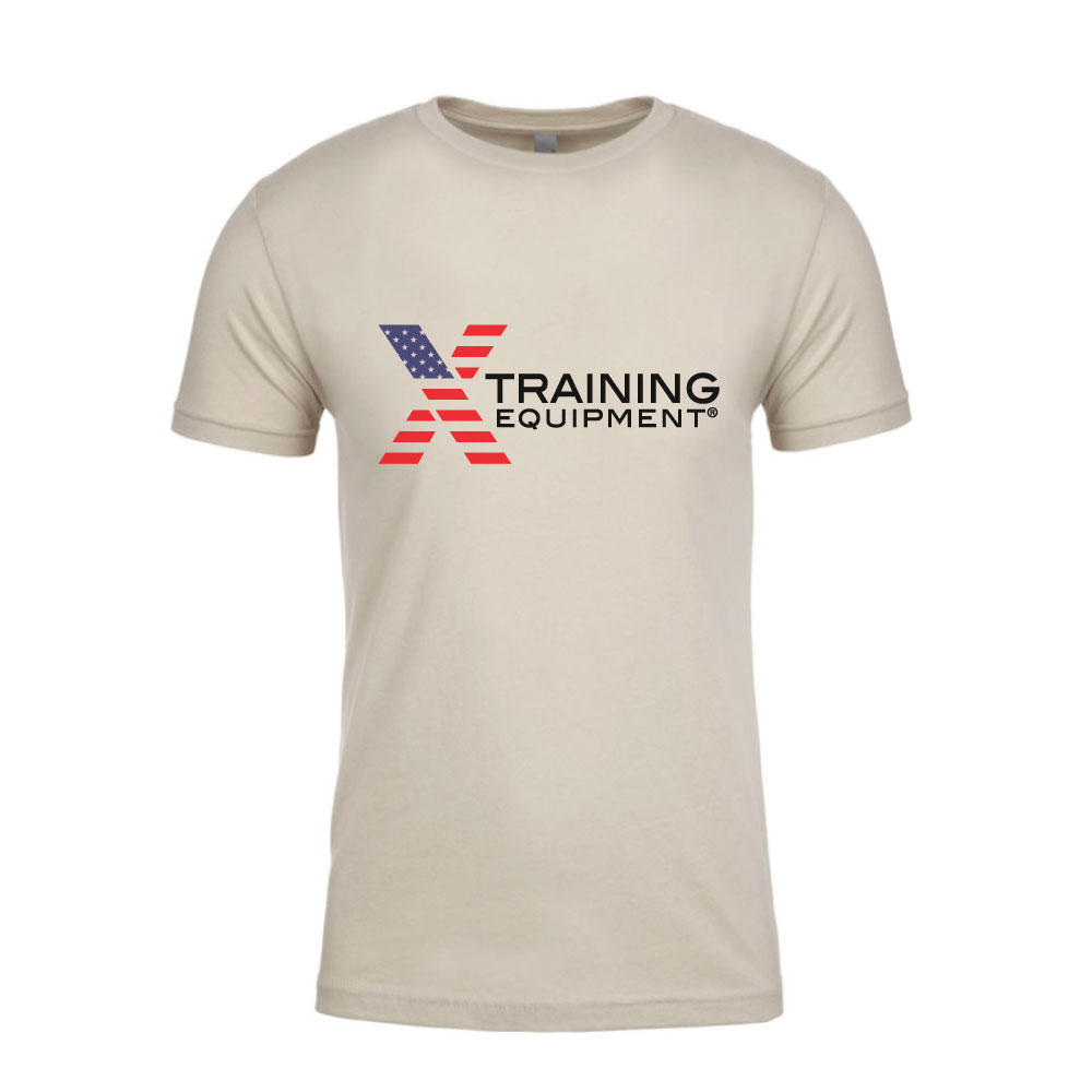 Mens - X Training Flag Logo - Sand - Premium Fitted T-Shirt