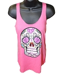 Sugar Skull Women's Pink Tank Top - Free Shipping