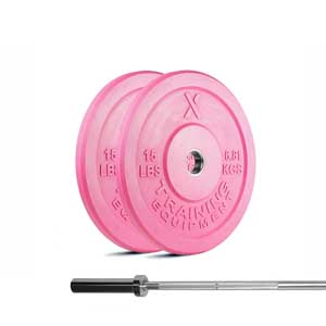 15lb Training Bar + 15lb Pink Bumper Plate Package
