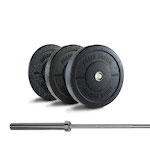160LB Crumb Bumper Set + Barbell - Out of Stock