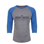 Mens - Again Faster Logo - Blue / Gray - Tri-Blend 3/4 Raglan
