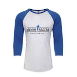 Womens - Again Faster Logo - Blue / White - Tri-Blend 3/4 Raglan