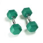 Hex Rubber Dumbbell - 10LB Green - Pair