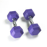 Hex Rubber Dumbbell - 15LB Indigo - Pair