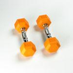 Hex Rubber Dumbbell - 5LB Orange - Pair
