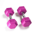 Hex Rubber Dumbbell - 20LB Violet - Pair