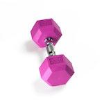 Hex Rubber Dumbbell - 20LB Violet - Single