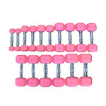 Pink Rubber Hex Aerobic Dumbbell Set Pairs - 2, 3, 5, 8, 10, 12, 15, & 20lb - Currently Out of Stock