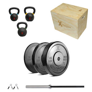 160lb Bumper + XOB Barbell + KB Set + Plyo - Out of Stock