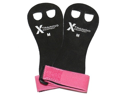 Women's Leather Hand Grips Pink/Black - Pair